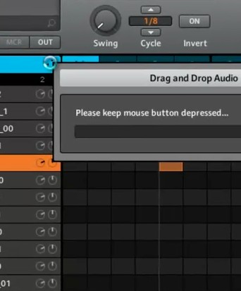 drag and drop audio or midi from maschine