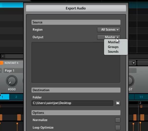 exporting audio
