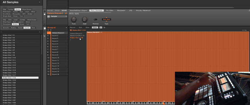 Creating custom drum sounds by drag and drop or resampling